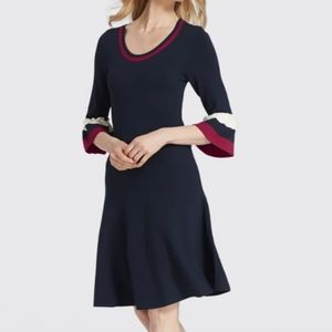 DRAPER JAMES | stripe bell sleeve sweater dress